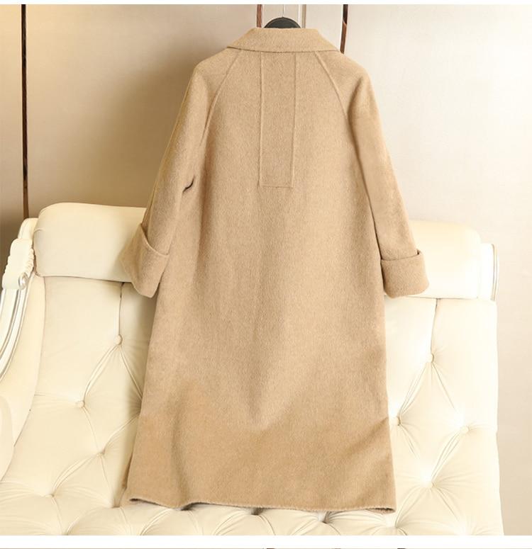 Outwear Arrivée De Femelle Moyen Beige Longueur bean Alpaga Hiver Femmes vert Nouvelle noir camel Green Survêtement 2018 Manteau pourpre Laine z7ISIqwv