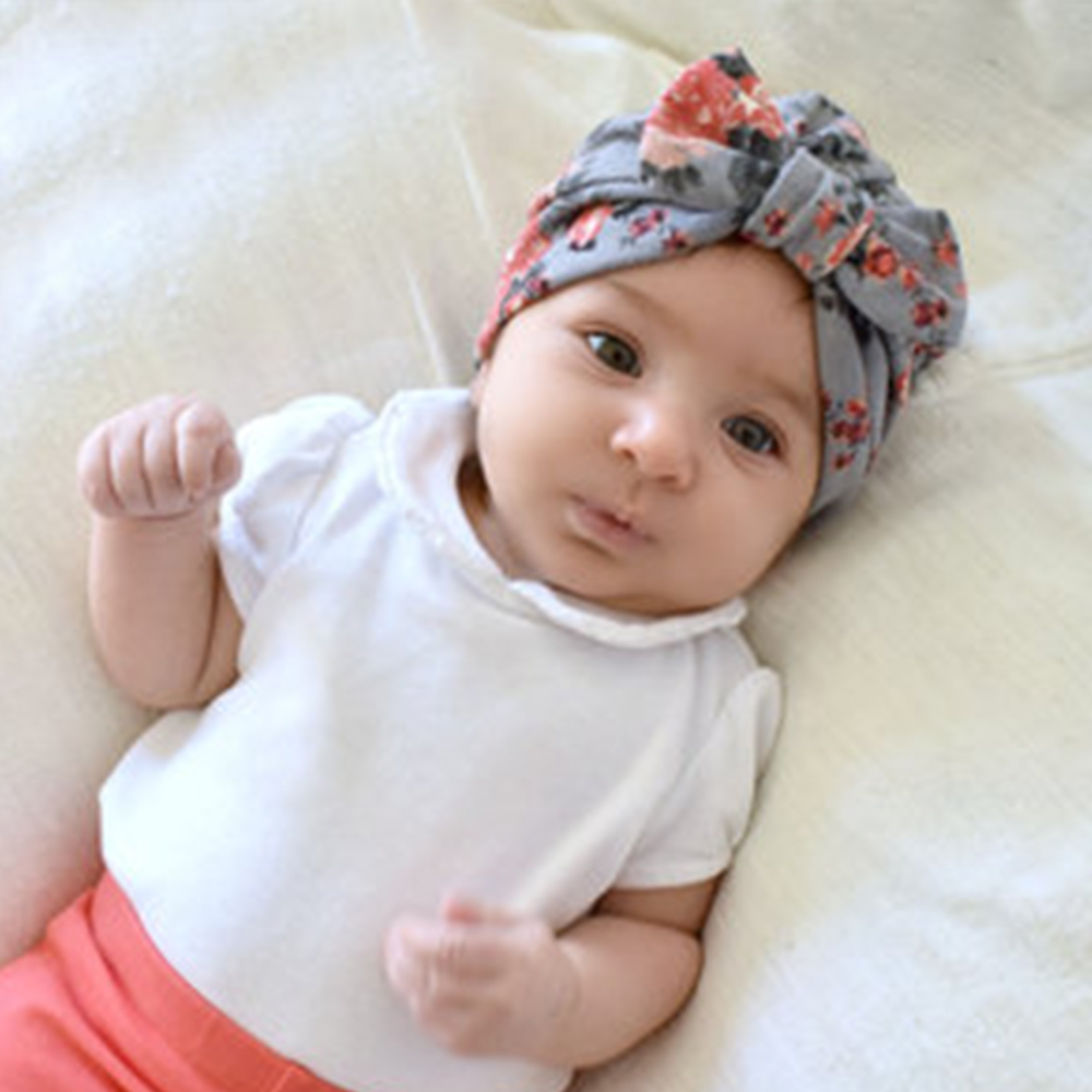 Newborn Bowknot Warm Hat Floral Print Baby Girl Hat with Bow Cotton Soft Bohemia Boy Top Bows Turban Infant Beanie Baby Cap