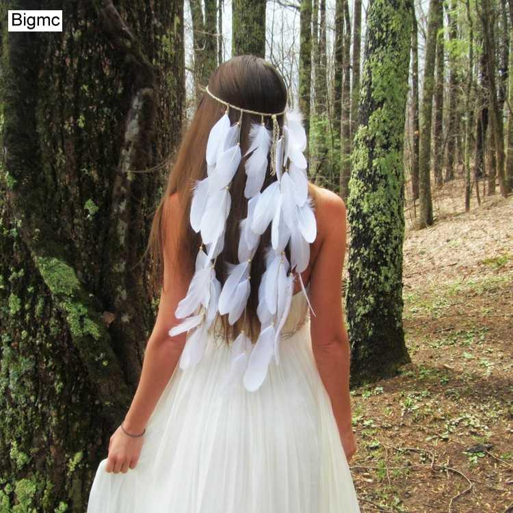 New Feminino Branco Penas Enfeites de Cabelo Hippie Estiramento Bohemia Indiano Noiva Headband Faixa de Cabelo presente Do Partido Jóias A5003