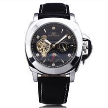 WINNER Men Casual Mechanical Wrist Watch Leather Strap Tourbillion Black Dial Date Display Roman Number