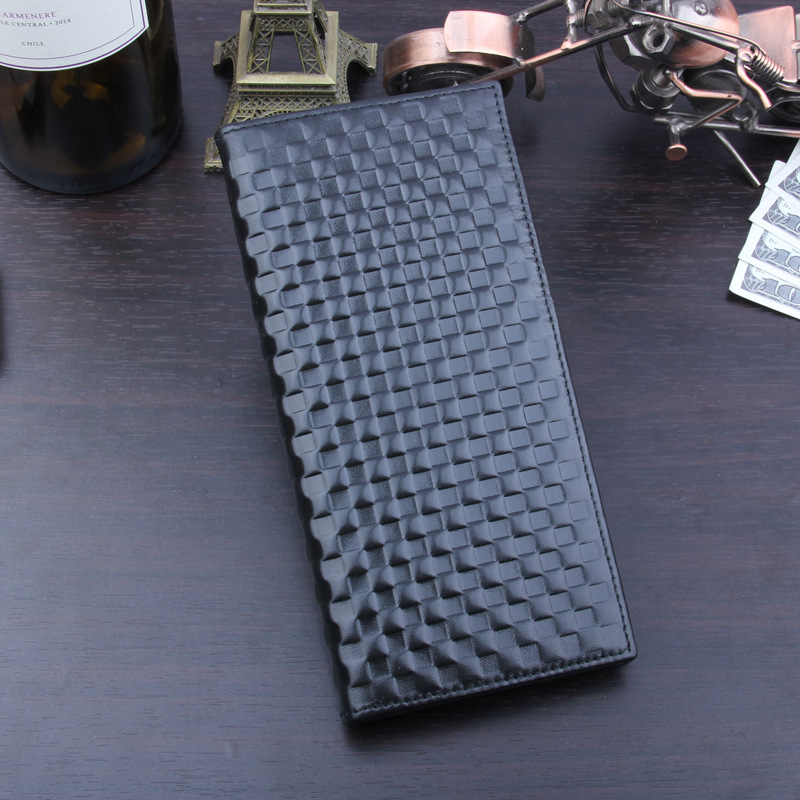 PEOPLE MONTAIN 2018 New First Layer Leather Men's Long Wallet Woven Square Pattern Hand-held Wallet Big Name Quality