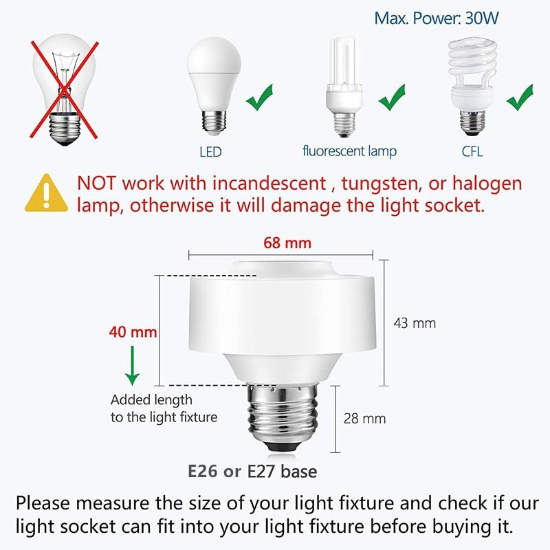 LoraTap Smart WiFi Bulb Socket E26/E27 Wi-Fi LED Light Bulb Lamp Timer  Holder Adapter, Voice Control with Amazon Alexa and Google Home Assistant, A