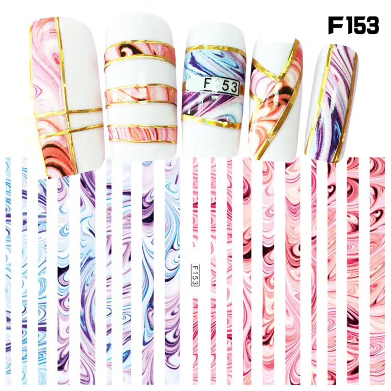 1 sheet New Fashion 3D Nail Stickers colorful  Stripe Lines Nails Sticker  Striping Tape  Decorations Manicure Z067