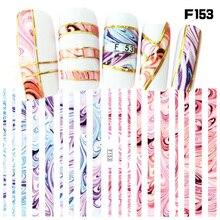 1 시트 새로운 패션 3d 네일 스티커 다채로운 스트라이프 라인 손톱 스티커 스트라이핑 테이프 장식 매니큐어 z067