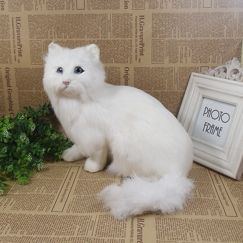 white simulation sitting cat toy polyethylene & furs big lovely cat model about 22x24x15cm 1736 lovely big simulation fox toy polyethylene