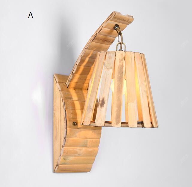 Твердые деревянные современные персонализированные отель спальня ночники Юго-Восточной Азии ресторан Кафе проход СВЕТОДИОДНЫЙ бамбука ла...
