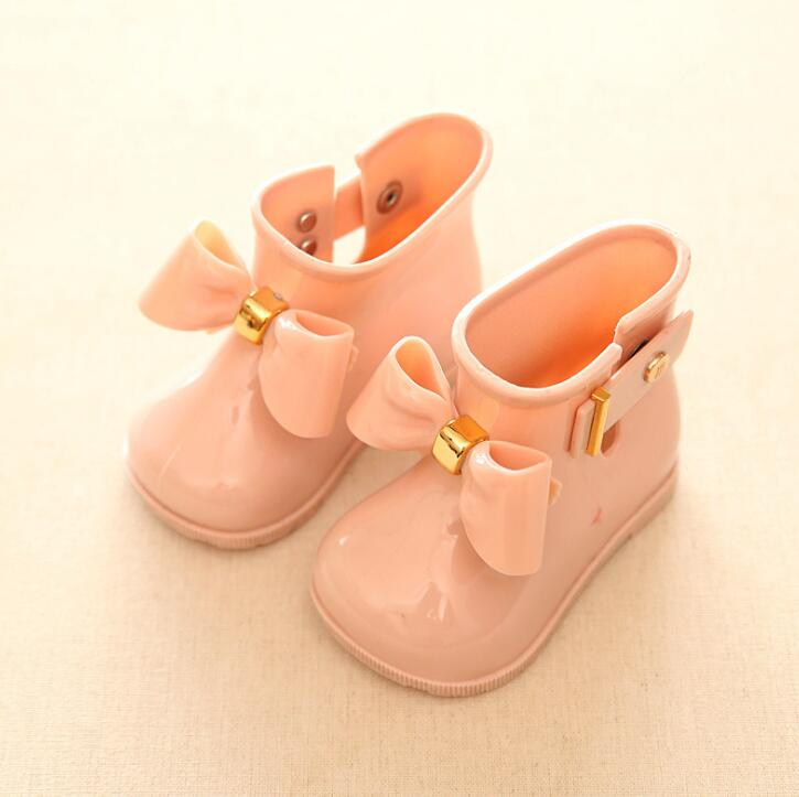 Kids Boots Baby Girls Rain Boots Cute Bowknot Jelly Rain Shoes Red/Pink/Black Waterproof Soft Ankle Boot Children PVC Shoes