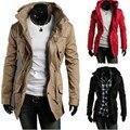 Autumn Winter Fashion Men Windbreaker European Street Style Slim Male Trench Plus Size Casual Long Sleeve Turtleneck Coats 62685