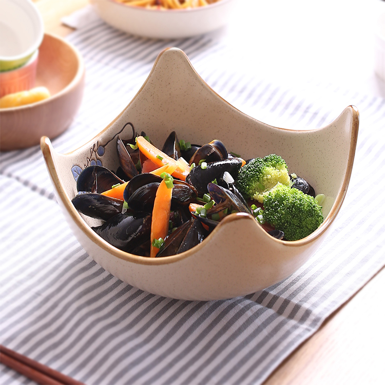Creative Japan Style Plant irregular ceramic bowls porcelain tableware thick high quality noodle soup bowl 9 inch fruit bowls