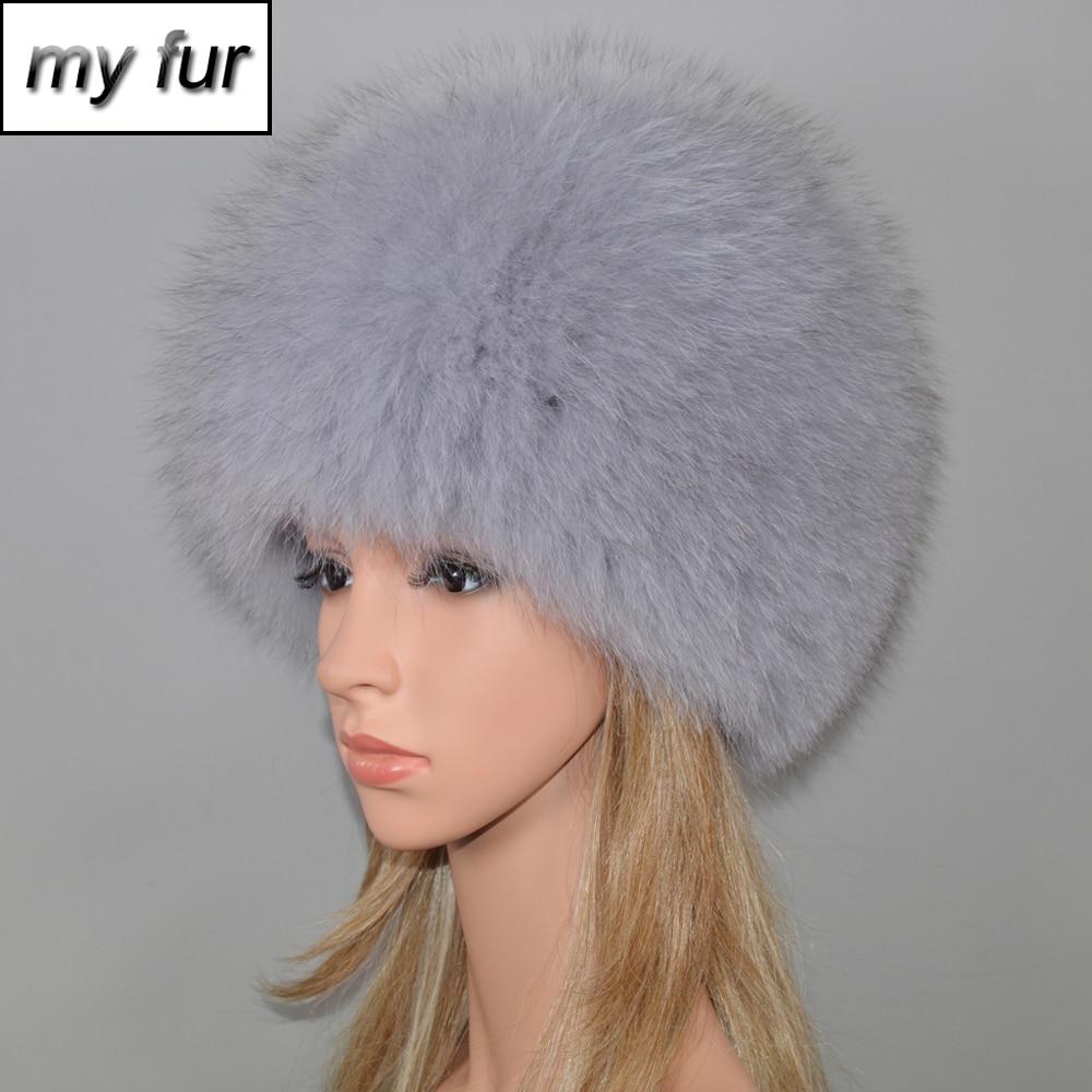 Women Winter Natural Real Fox Fur Hat Elastic Warm Soft Fluffy Genuine Fox Fur Cap Luxurious Quality Real Fox Fur Bomber Hats-in Women's Bomber Hats from Apparel Accessories