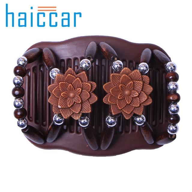 HAICAR peine para el cabello moda cuentas mágicas elasticidad doble peine Clip elástico accesorios para mujer tobogán para el cabello AA # dropship