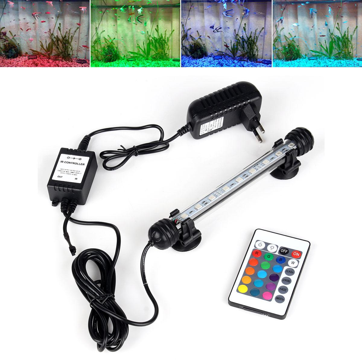 EU Plug Aquarium Fish Tank LED Light RGB Remote Waterproof 5050 SMD LED Bar Light Lamp Submersible