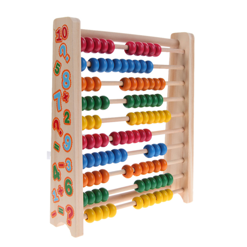 Educational Toys Nursery : Montessori kids math toys wood colorful beech abacus