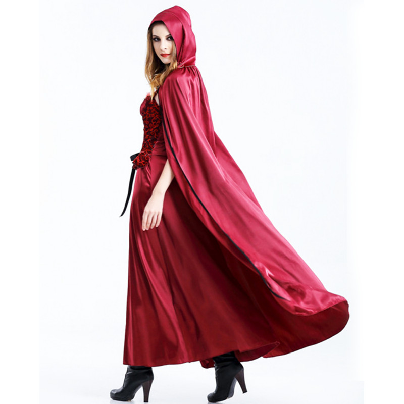 Plus Size Little Red Riding Hooded Robe Lady Dress Party Cloak Outfit For Girls Adult Women Cosplay Costume Christmas Halloween