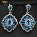 2017 Unique Light Blue Big Cubic Zircon Crystal Design Fashion Women Party Long Dangling Drop Earrings Jewelry For Female E166