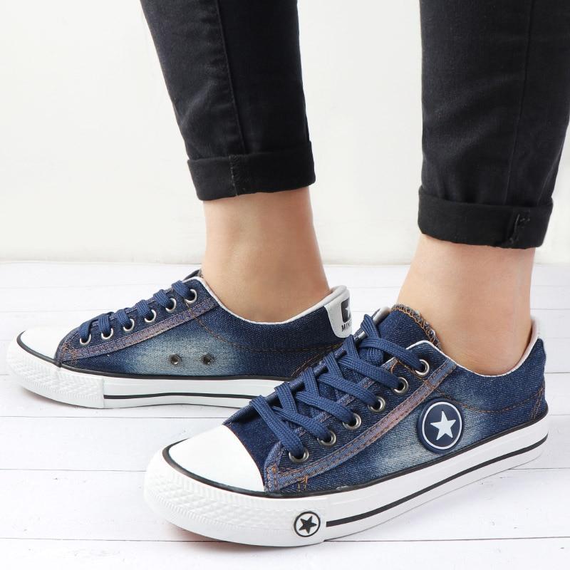 US $12.51 52% OFF|Lato kobiety trenerzy trampki płócienne buty jeansowe kobiet koronki Up panie buty w stylu casual buty wulkanizowane kosz Femme