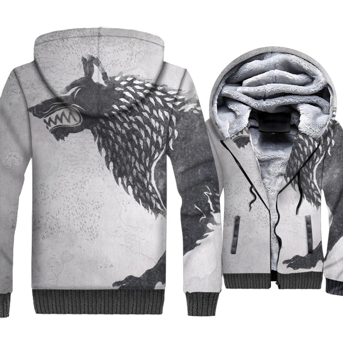 Game of Thrones 3D Print Hoodie Men House Stark Hooded Sweatshirt Winter Thick Fleece Zip up Coat Wolf Jacket Hip Hop Streetwear in Hoodies amp Sweatshirts from Men 39 s Clothing