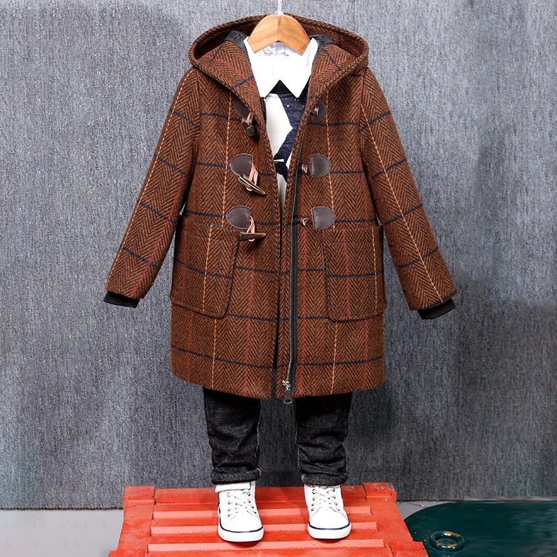 Boys woolen coat long-sleeved plaid zipper cardigan Korean 2018 new autumn and winter clothes woolen coat children's long coat slim fit ruffle long sleeved hooded quilted coat for women