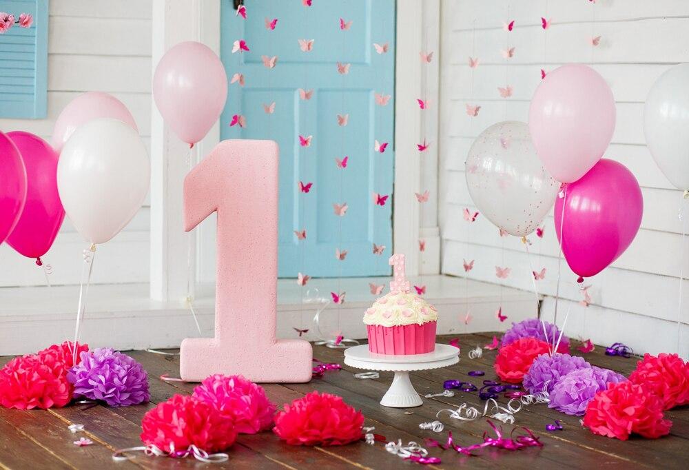Один год День Рождения фотография фон цветок торт фон фотобудка для фотосессии новорожденный день рождения фон XT-6670