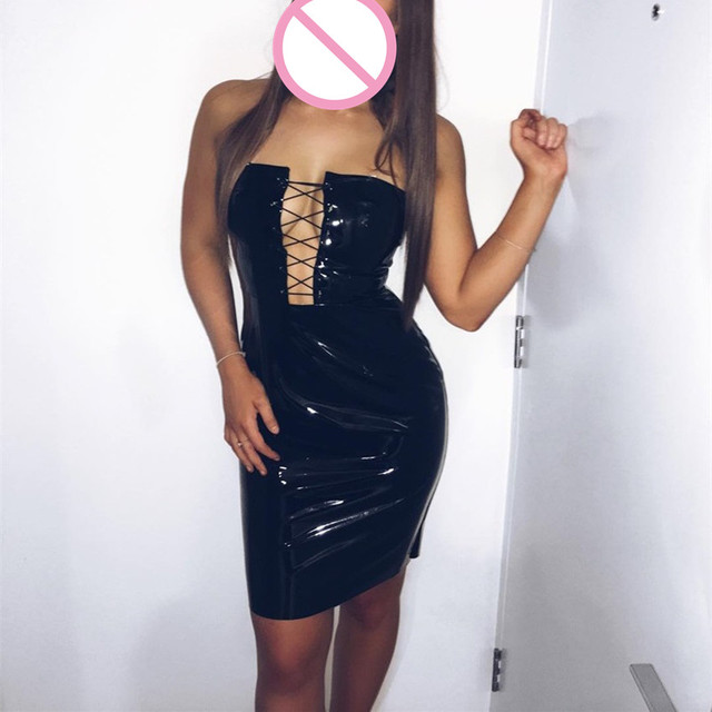 Abbille Plus Size Dress Sexy Summer Pvc Wet Look Leather Dresses
