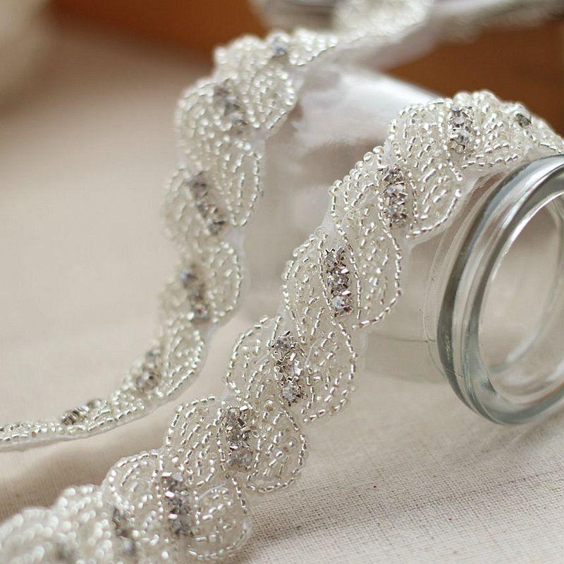 Rhinestone Applique Crystal Trim Rhinestone Beaded Applique Bridal  Accessories Wedding Dress Sash Belt Headband-in Lace from Home   Garden on  Aliexpress.com ... 6e76c326a3aa