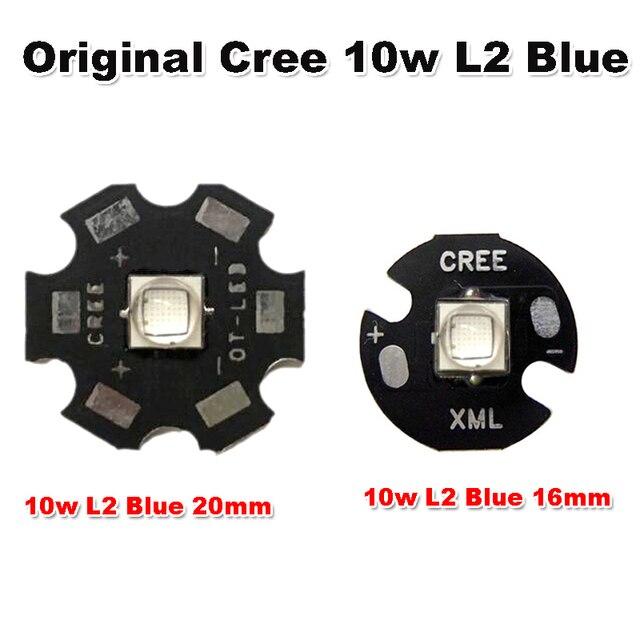 1 ~ 20 stücke Original CREE 10 Watt XML XM-L L2 Blau 460nm ~ 465nm LED Chip perlen Mit 20mm/16mm Basis für Scheinwerfer Taschenlampe Licht