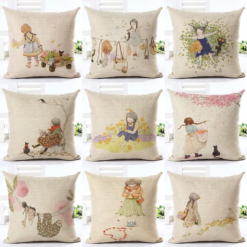 Cute Cartoon Girl Cushion Cover For Sofa Bed Home Decor Car Chair Home Decor Cotton Linen Throw Pillow Case Almofadas Cojines