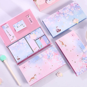 Premium Sakura Sticky Notes Boxed Starry Sky Sakura Cat Memo Pads Sakura Posted It For Girls sakura tn3060