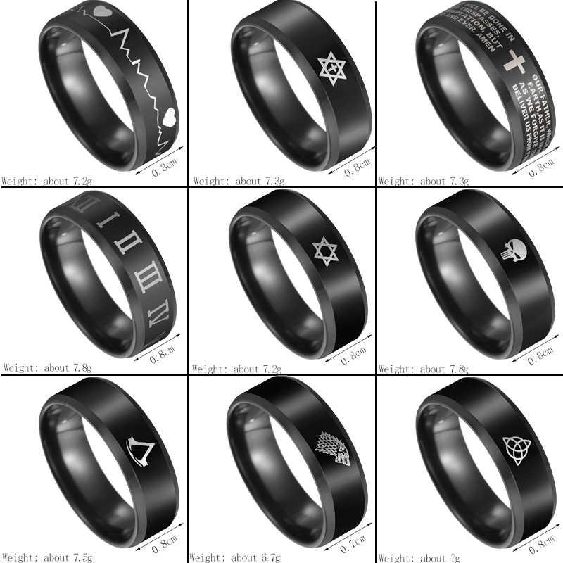 Letdifery calavera negra esqueleto Acero inoxidable anillo 9 estilos Comics calavera Punisher Logo anillo Envío Directo