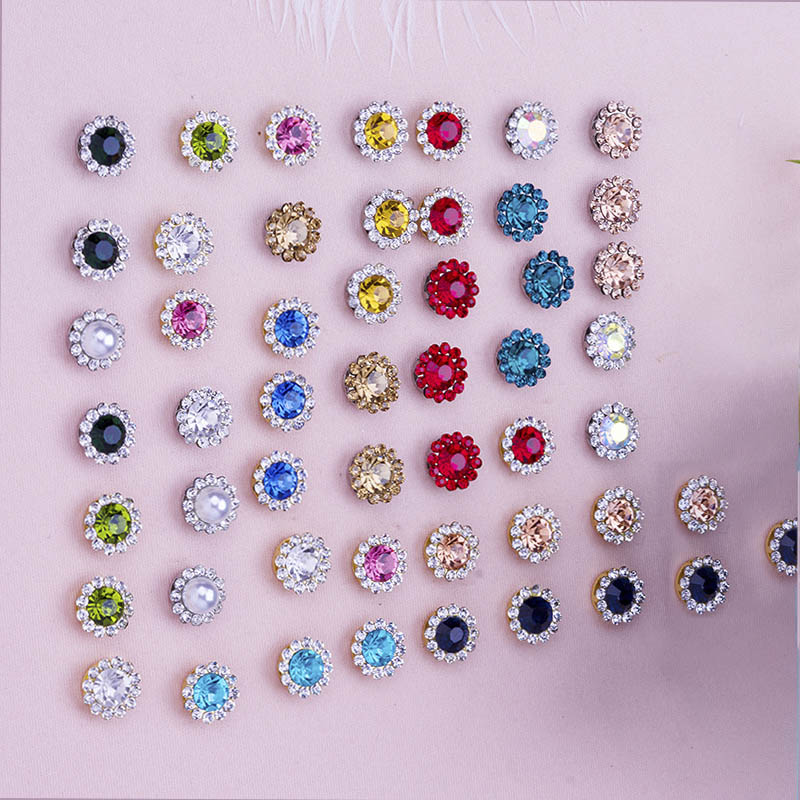 50pcs 10/12mm Multicolor Flower Beads Rhinestone Bezel Patch Crystal Cabochons Rould For Diy Jewelry Making Handmade Accessories