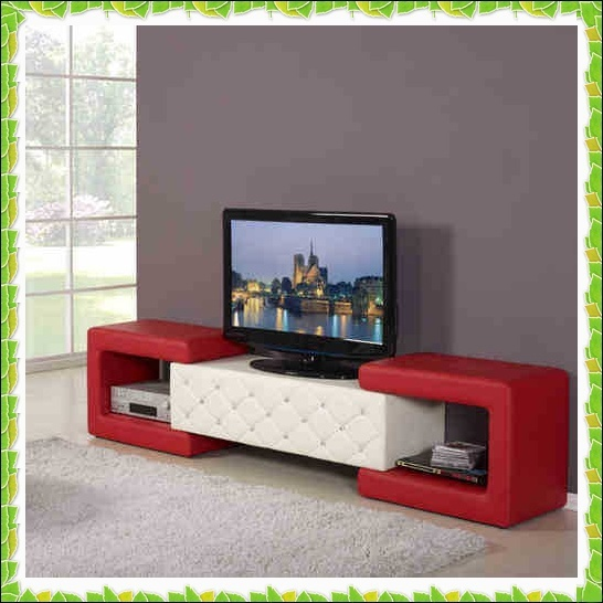 Functional Apartment Tv Racks Red White Leather Stands Hot Ing