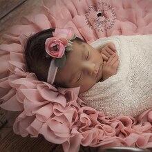 2 unids/lote suave gasa flor cojín manta Mat accesorios de fotografía de bebé recién nacido manta cesta relleno