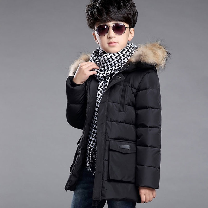 Newest Children's Boys Down Jackets Long Section Fashion Kids Boy Outerwear Warm Coat For School Snow Cotton Hooded Jacket Cloth casual 2016 winter jacket for boys warm jackets coats outerwears thick hooded down cotton jackets for children boy winter parkas