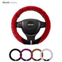 Karcle 38CM Universal Steering Cover Thickening Plush Auto Steering Wheel Covers Durable Keep Warm For
