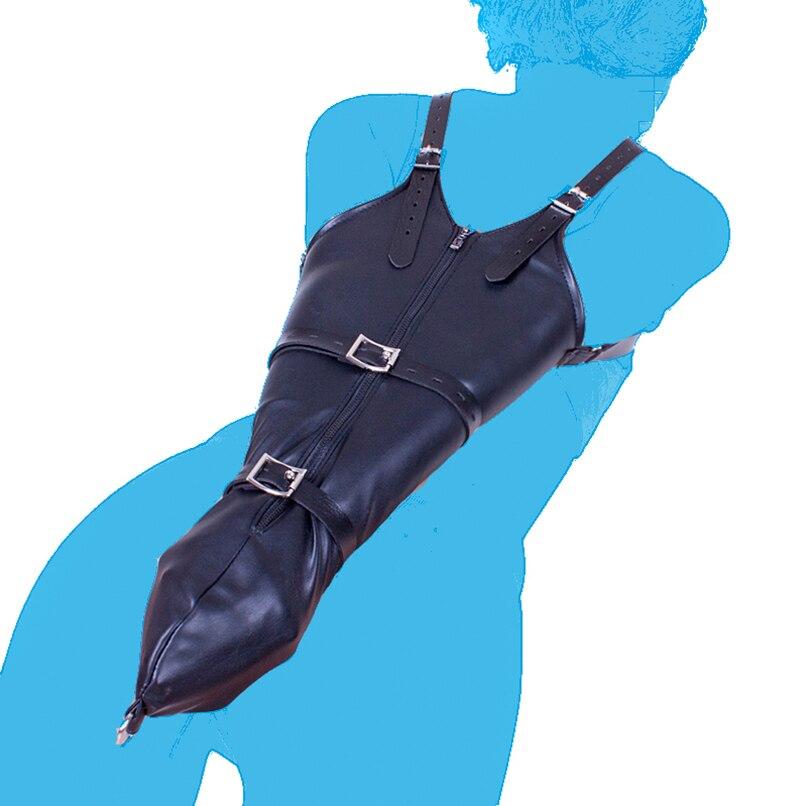 PU Leather Over Shoulder Arm Binder Bondage Restraints Slave Lockable Glove Sleeves Handcuff Armbinder Harness Sex Toys Products