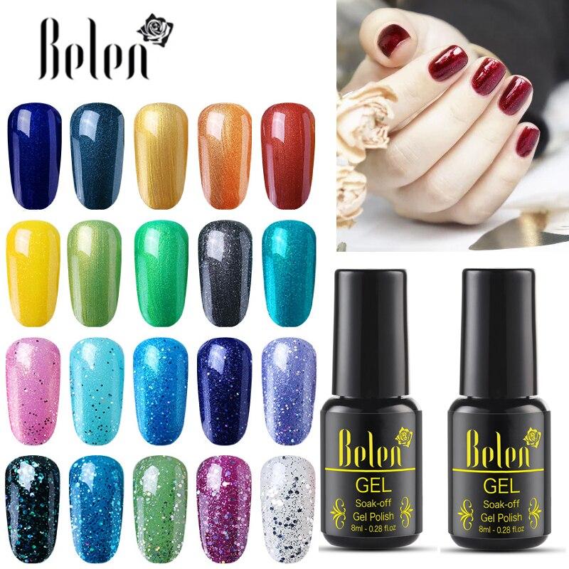 Belen Glitter Bling UV Gel Nail Polish 8ML Nail Art Design Manicure 30 Color Soak Off Enamel Lacquer Base Top Lucky Varnish