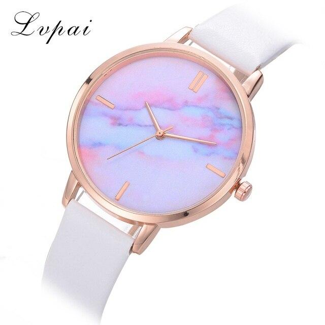 Lvpai Top Brand Luxury Leather Watch Colorful Sky Cartoon Ladies Business Wristw