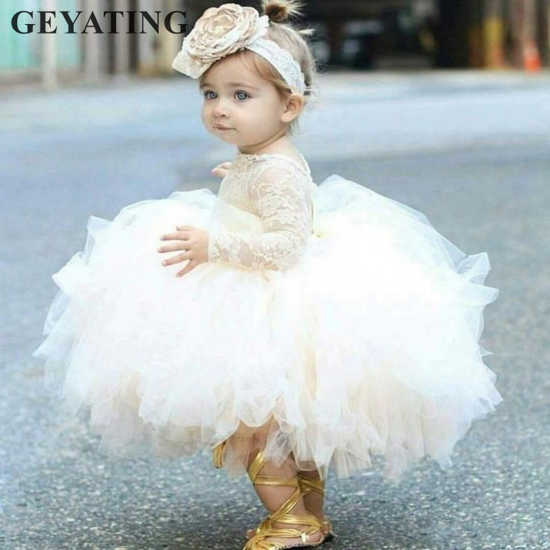 Ivory Lace Baby Flower Girl Dresses First Communion Ball Gown Tulle Kid Party Wedding Pageant Princess Dress 2019 Formal Gowns