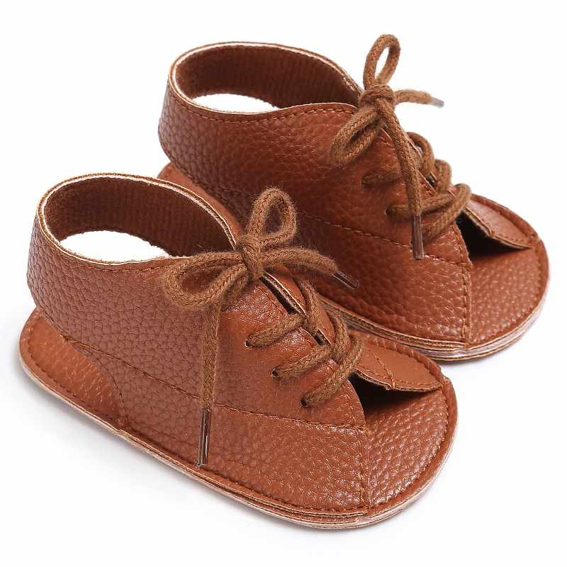 Summer Baby Girls sandals Pu Leather Lace Up Sandal Baby Peep Toe Flat Toddler Beach Brown Shoes