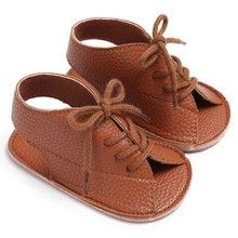 Summer Baby Girls sandals Pu Leather Lace Up Sandal Peep Toe Flat Toddler Beach Brown Shoes