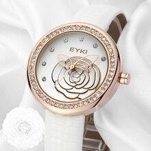 Роскошные Eyki Марка дамы из натуральной кожи кварцевые часы рельефными цветами золота циферблат Наручные часы для Для женщин Relogio Feminino