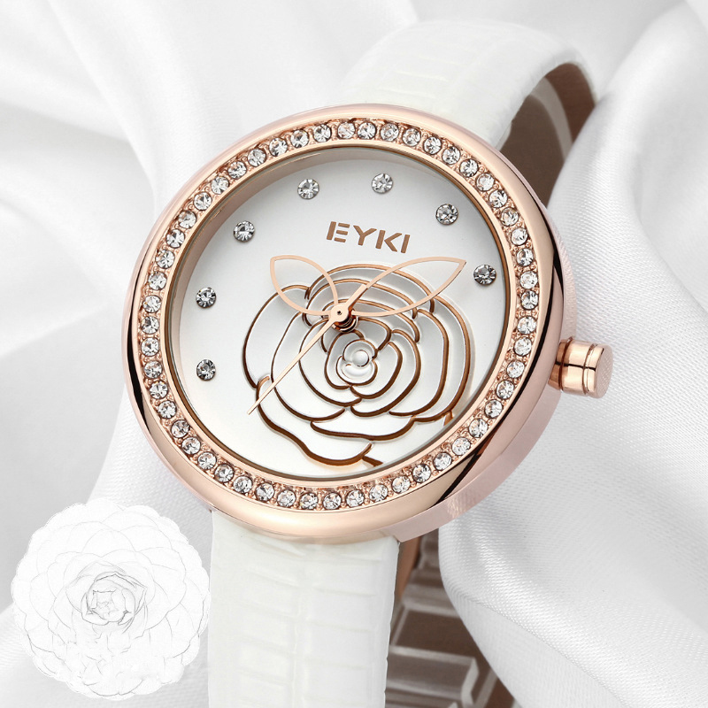 Luxury Eyki Brand Ladies Genuine Leather Quartz Watches Relief Flowers Gold Plated Dial Wristwatches For Women Relogio Feminino