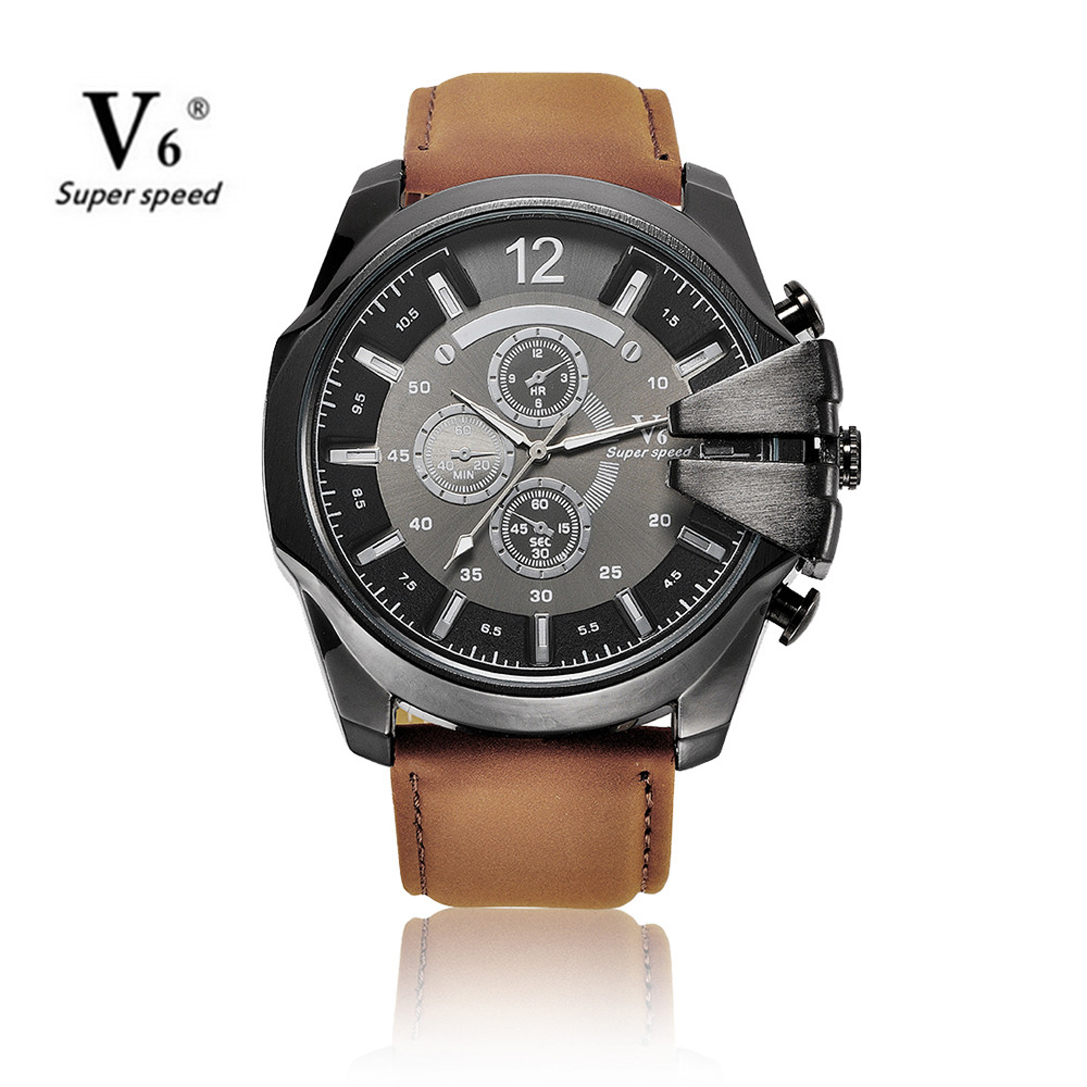 Men Sports Watch Cowboy V6 Watches Male Quartz-Watch Analog Casual Fashion Military Leather Wrist Watch relogio masculino clock