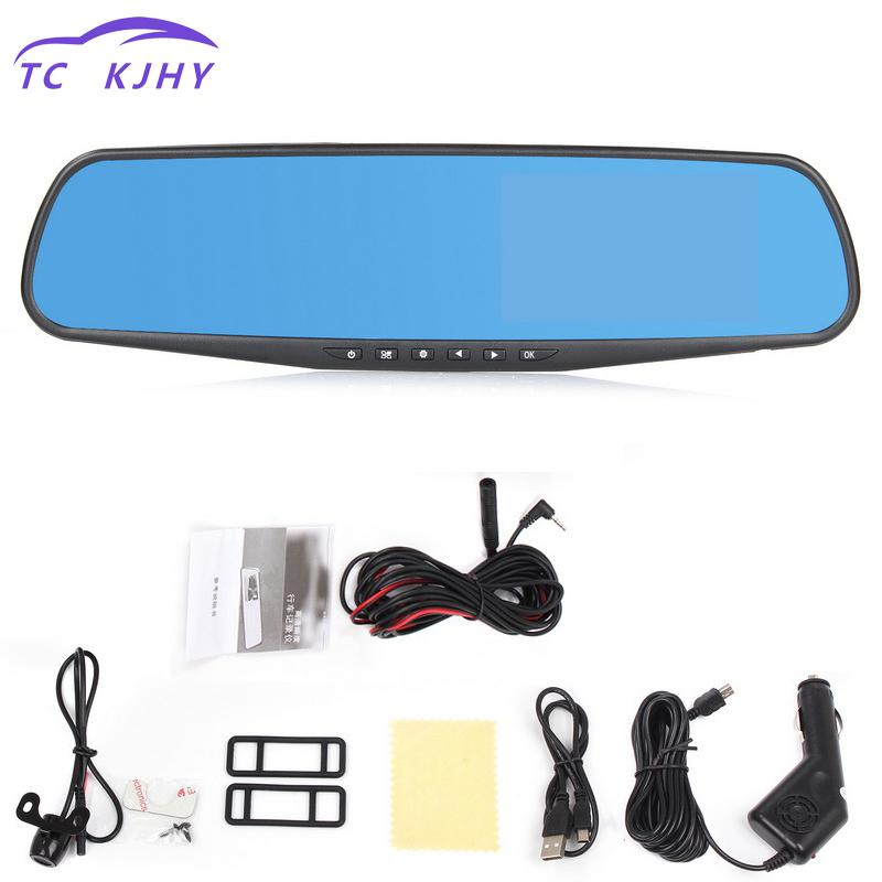 4.3 Inch Wide Angle Dash Cam 1080p Hd Car Dvr Vehicle Dual Lens Blue Mirror Video Driving Recorder Car Camera Car-styling