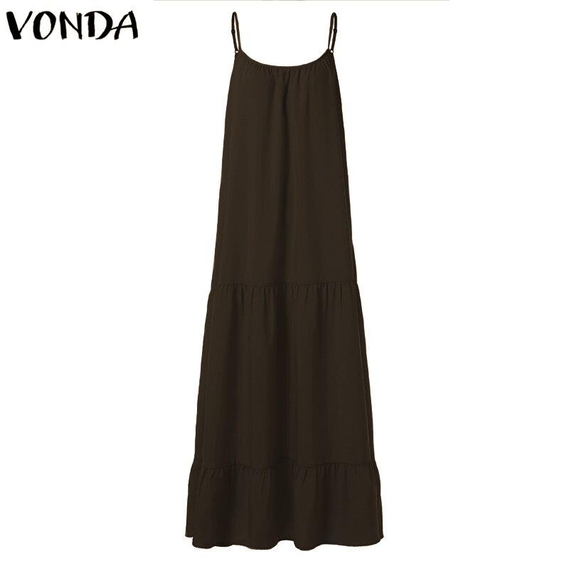 VONDA Bohemian Dress Women 19 Summer Sexy Sleeveless Spaghetti Strap Ruffle Swings Maxi Long Dresses Holiday Vestido Plus Size 14