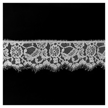 3Meters White Eyelash Lace Ribbon 8.5cm/Wide African Fabric Clothing accessories Embroidered Trim Sewing lace material