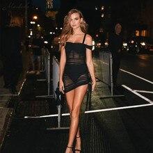 Macheda Fashion Sexy Mesh Perspective Women High Waist Slim Dress Slash Neck Lady Summer Solid Mini Dresses 2019 New