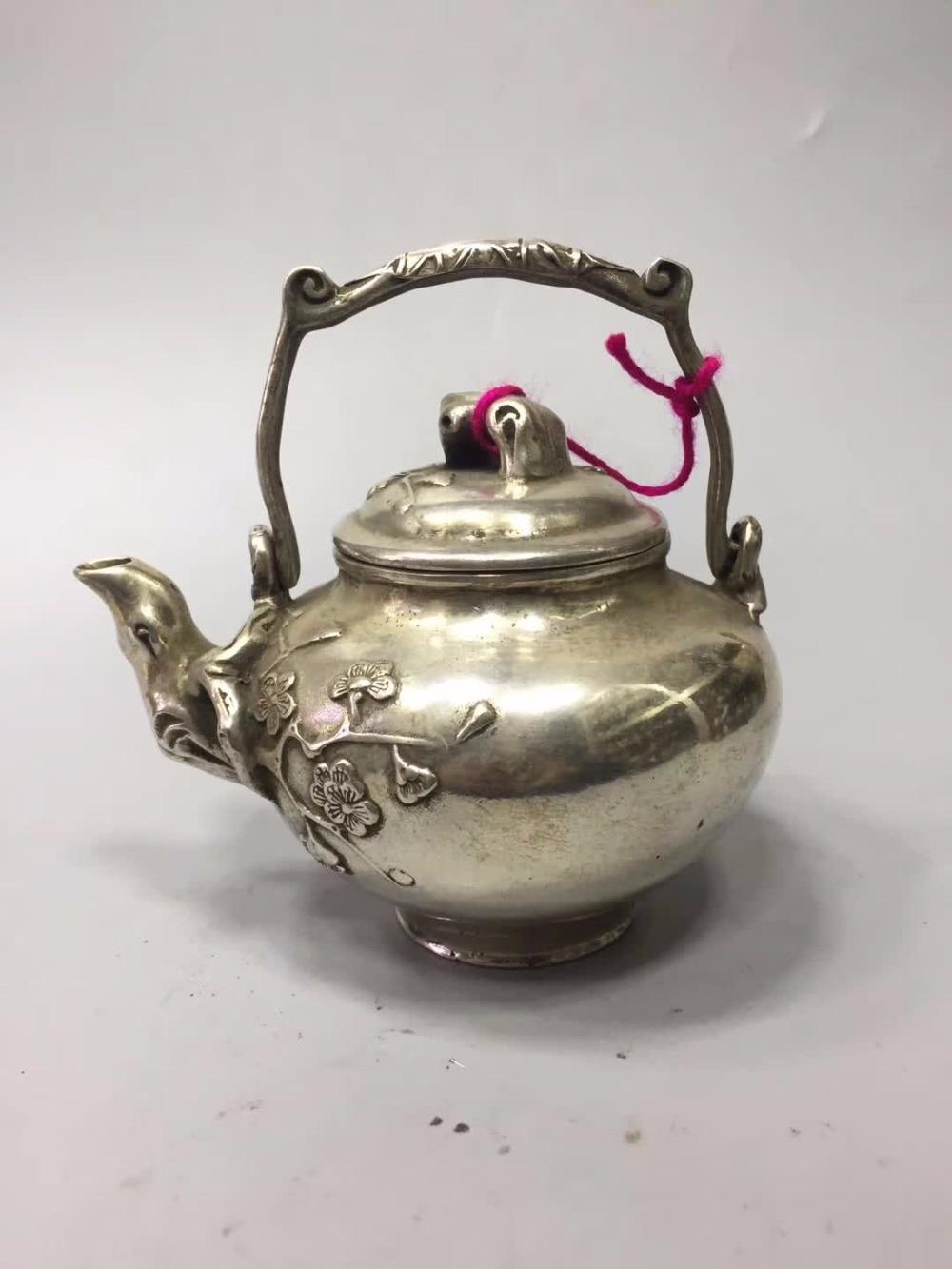 Collection Tibet Silver Old Handmade Pot /chinese Antique Tea Pot Honest Home/desk Decoration Plum Flower Teapot Metal Crafts Home & Garden