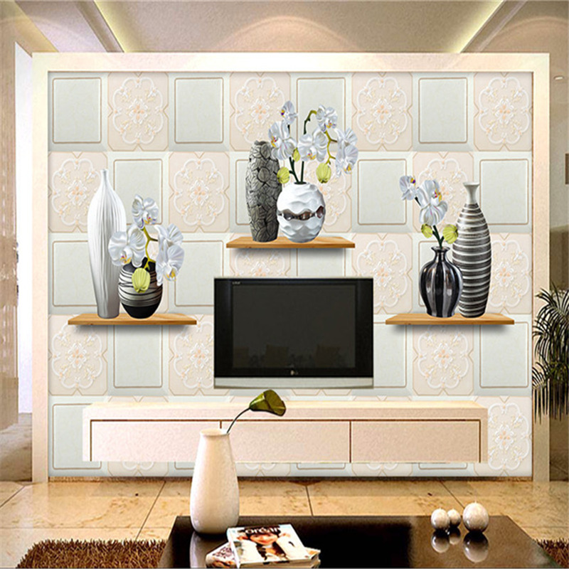 3D Custom Large Wallpapers Modern Flowers Murals Retro 3D Vase Wall Papers Home Decorative Painting Living Room Background Walls custom large 3d wallpapers cartoon dog cat animals murals kids walls papers for children room living room home decor painting