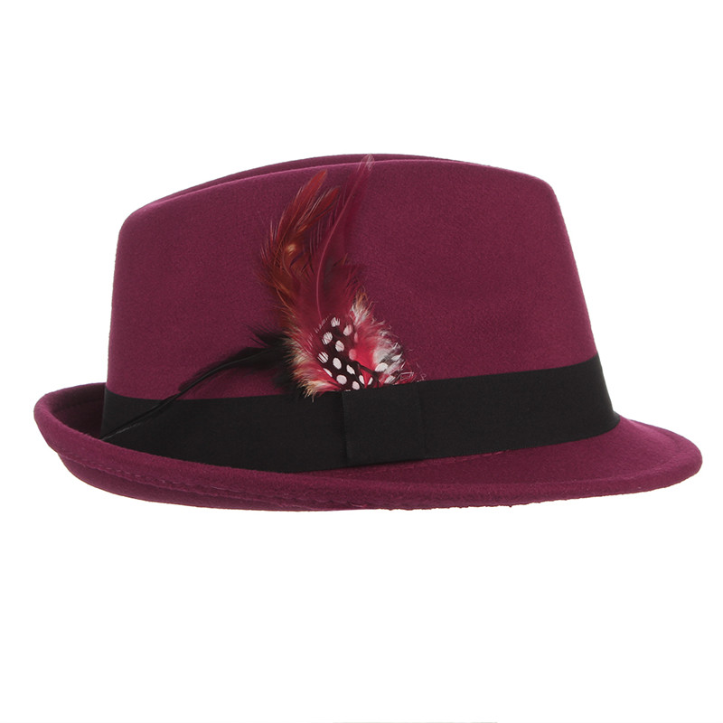 914d7a0aafc Dropwow GEMVIE Men Wool Fedoras Solid Color Jazz Cap With Feather ...
